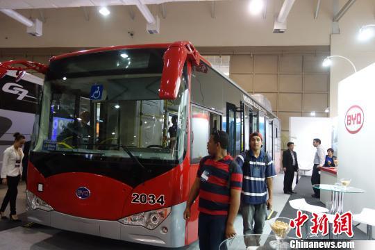 中国车企比亚迪纯电动大巴亮相巴西圣保罗车展