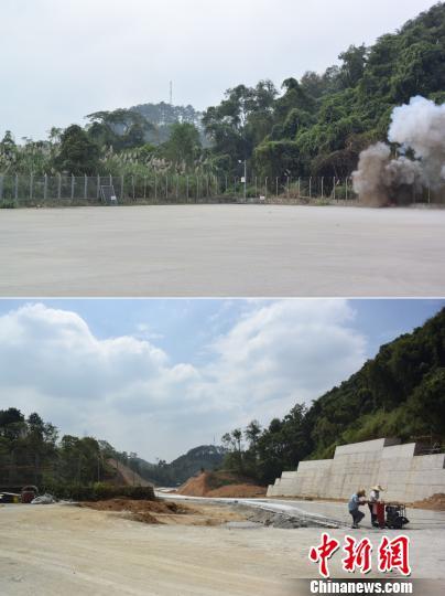 图为拼图。上图为2015年11月20日,广西边防某扫雷队在中越边境排雷。下图为昔日雷场被开辟为(中国)友谊关—(越南)友谊口岸国际货物运输专用通道。 蒋雪林 摄
