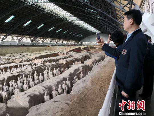 中国侨网图为参观秦始皇帝陵博物院。 阿琳娜 摄