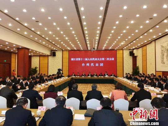 图为:浙江省第十三届人民代表大会第二次会议台州代表团全体会议现场 范宇斌 摄
