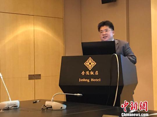 中国侨网图为旅美学者、南京大学华智中心副主任徐德清发表演讲。 南庚戍 摄