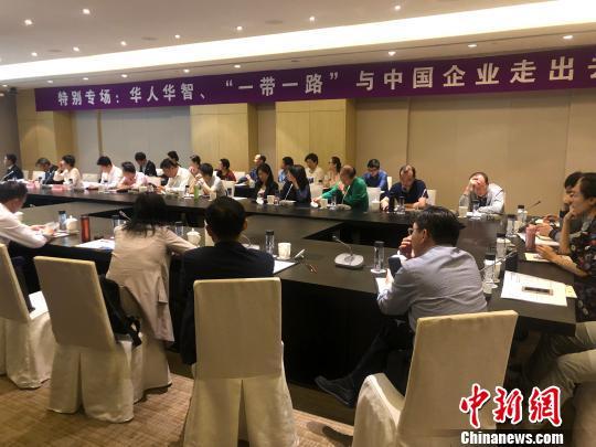 """23日,""""特别专场:华人华智、'一带一路'与中国企业走出去""""分论坛召开。 杨颜慈 摄"""