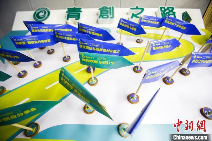 """南京台湾青年创业学院展出的台青""""心路历程""""。 会方供图 摄"""
