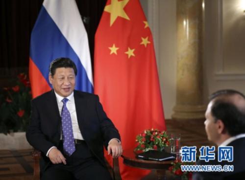 2014年2月7日,国家主席习近平在俄罗斯索契接受俄罗斯电视台专访。新华社记者 兰红光 摄