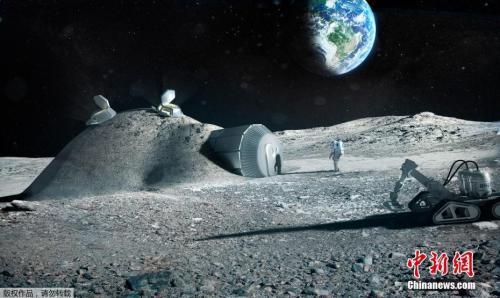 2017年9月22日,欧洲航天局发布3D打印月球基地效果图。