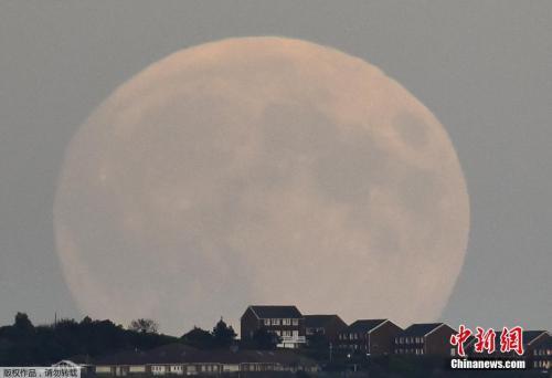 """资料图:当地时间2015年9月27日,英国南部城市布莱顿,一轮巨大的""""超级血月""""当空悬挂。"""