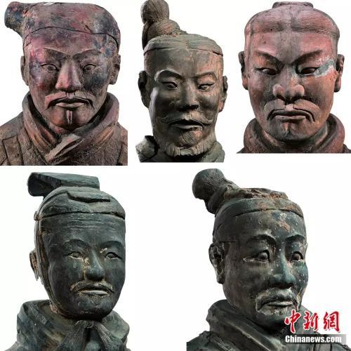 (秦俑的制作者塑造了多种多样的典型人物,千俑千面,秦俑的面部特征可以归纳为目、国、用、甲、田、由、申风等八种基本脸型,也反映了中国人面部特征的共性。资料图)