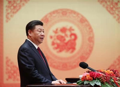 2018年2月14日,中共中央、国务院在北京人民大会堂举行2018年春节团拜会。中共中央总书记、国家主席、中央军委主席习近平发表重要讲话。新华社记者 鞠鹏 摄