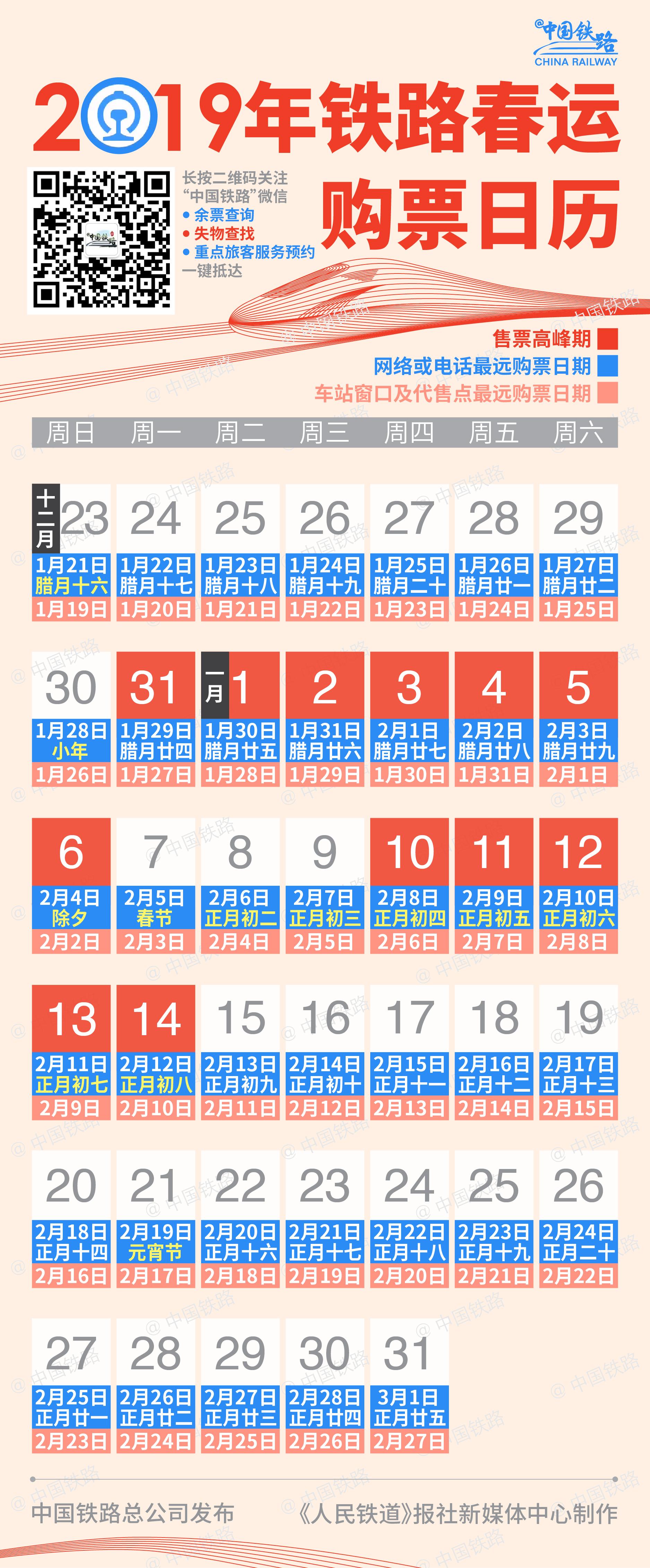 2019年春运购票日历