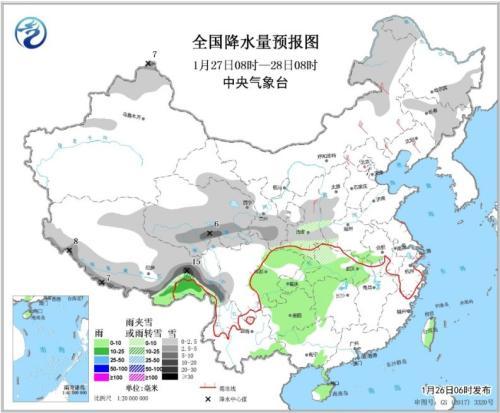 全国降水量预报图(1月27日08时-28日08时)