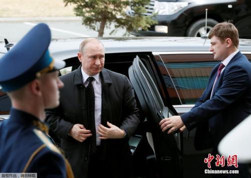 当地时间4月25日,俄罗斯总统普京抵达会晤地点。