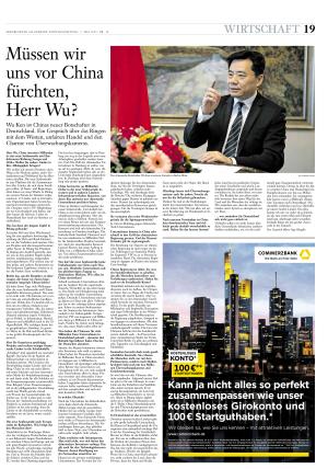 《星期日法汇报》经济版整版刊登采访中国驻德国大使吴恳的内容。(图片来源:中国驻德国大使馆网站)
