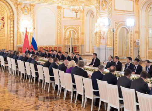 6月5日,國家主席習近平在莫斯科克里姆林宮同俄羅斯總統普京會談。新華社記者李學仁攝