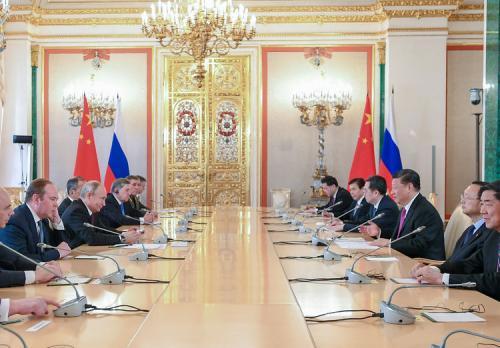 6月5日,國家主席習近平在莫斯科克里姆林宮同俄羅斯總統普京會談。新華社記者謝環馳攝