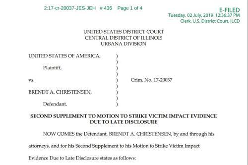 克里斯滕森辩护律师提交的动议。