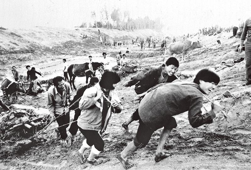 1946年,中國共產黨在山東菏澤領導成立了冀魯豫解放區黃河水利委員會這一人民治黃機構。自那時起,在中國共產黨領導下,黃河治理保護工作不斷取得重大成就,創造了伏秋大汛歲歲安瀾的奇跡。圖為山東省淄博市木李鄉(今木李鎮)農民在治黃工地上勞動。 新華社發