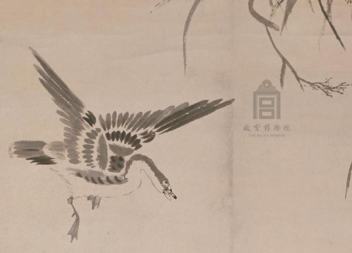 《朱耷芦雁图轴》局部。 现存故宫博物院