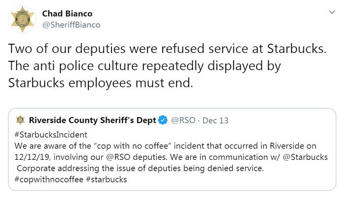 """美国河滨郡警察局讲述警察经历。图片来源:河滨郡警察局办公室官方""""推特""""截图"""