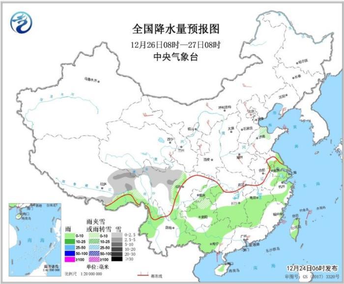 图3 全国降水量预报图(12月26日08时-27日08时)
