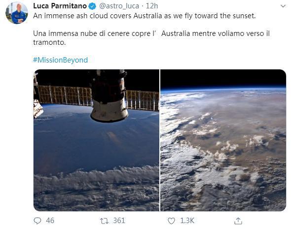 图片来源:宇航员卢卡社交媒体账户截图。