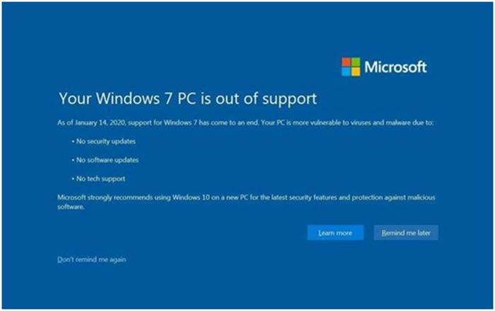 Win7停止更新被指存漏洞威胁 用户面临被