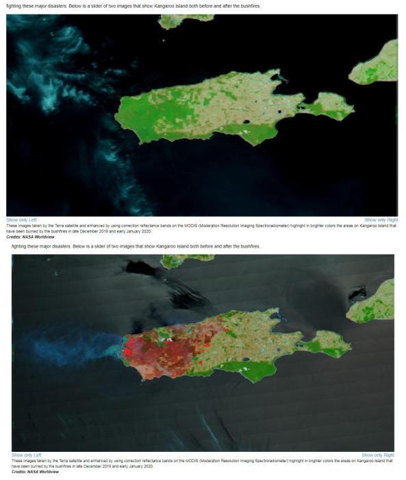 根据 NASA近日拍摄到的最新卫星图像,袋鼠岛已经有三分之一的土地被烧。(图片来源:NASA官网截图)