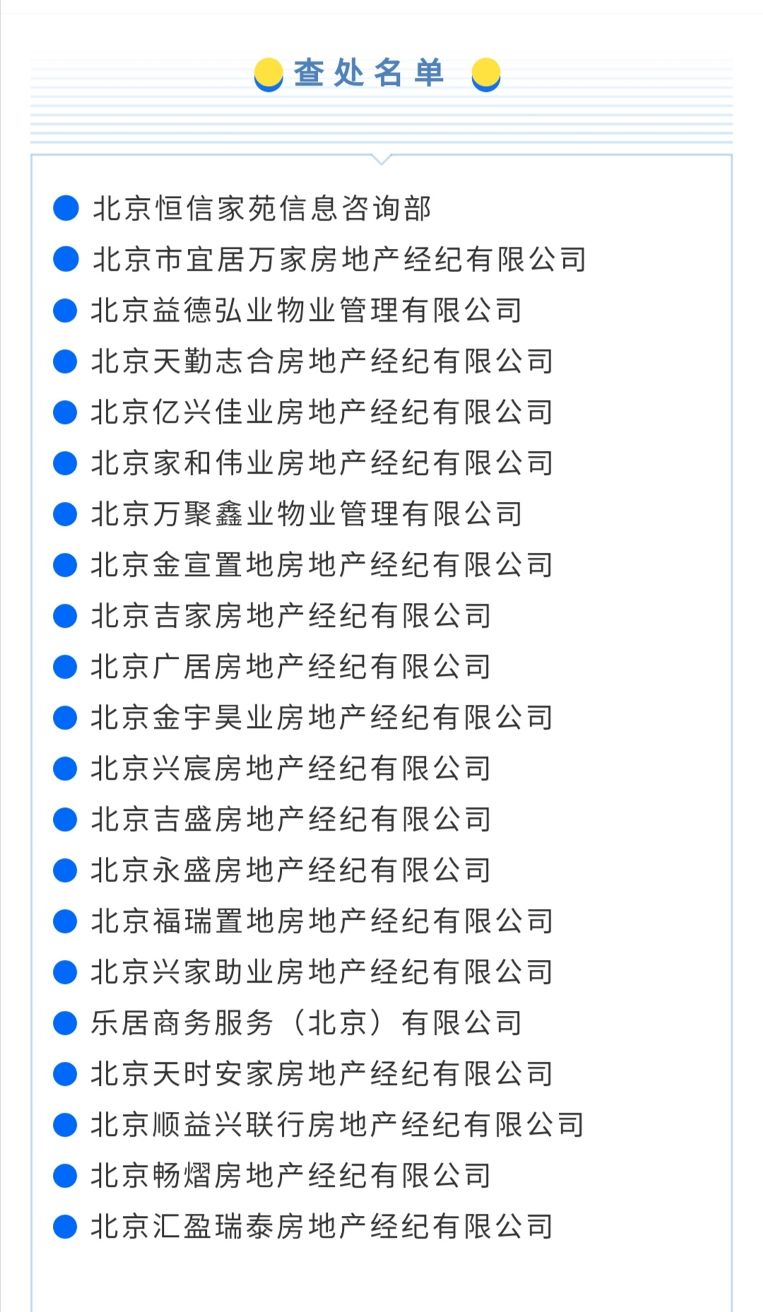 北京市住建委:北京21家房地产经纪机构被查处