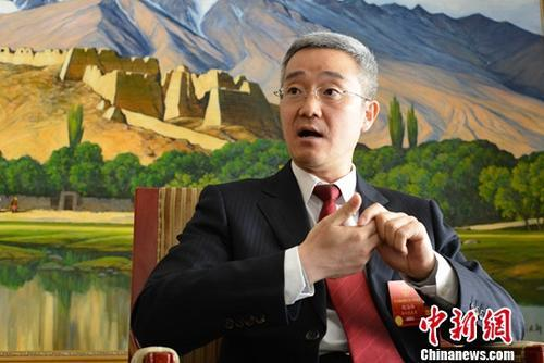 资料图:胡海峰接受中新社记者采访。中新社记者 满会乔 摄