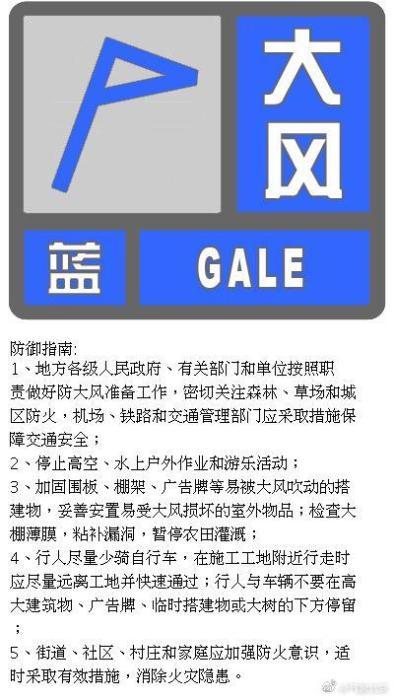北京大风蓝色预警 阵风可达7级左右