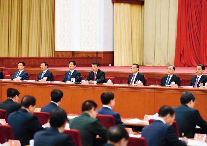 中国共产党第十九届中央委员会第四次全体会议,于2019年10月28日至31日在北京举行。这是习近平、李克强、栗战书、汪洋、王沪宁、赵乐际、韩正等在主席台上。 新华社记者 张领/摄