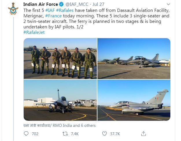 """印度采购的首批5架""""阵风""""战机已从法国飞往印度"""