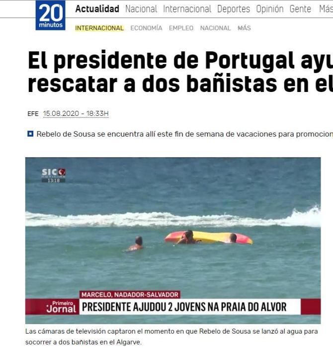 内地时间15日,葡萄牙总统德索萨跳入水中救人。图片来历:西班牙《二十分钟报》截图。
