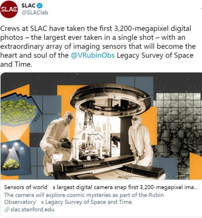 世界最大数码相机首次拍照 需4k超高清378个电视显示屏才能显示