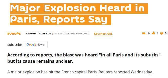 俄罗斯卫星网报道称巴黎传出爆炸声。