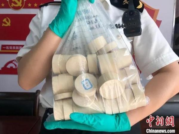 图为海关人员展示查获的象牙。 苏杭 摄