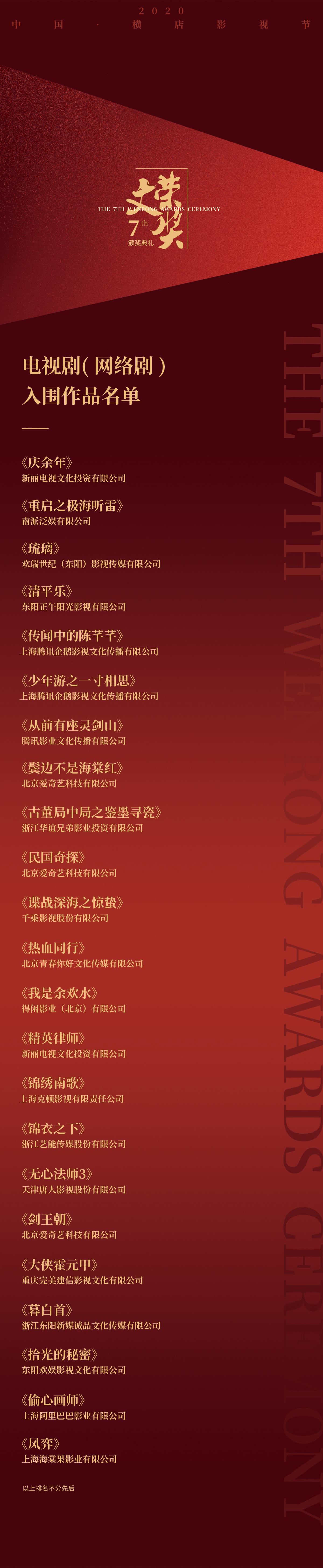 """《慶余年》等23部作品入圍第七屆""""文榮獎""""評選。 橫店提供"""