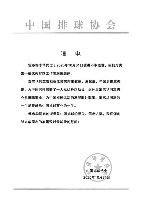 中国排球界元老邹志华逝世 曾率国家队出征奥运-中新网