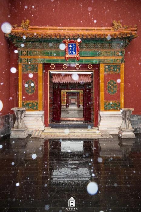 瑞雪启祥,六百年的紫禁城的初雪 ,如约而至。 图源:故宫博物院官方微博