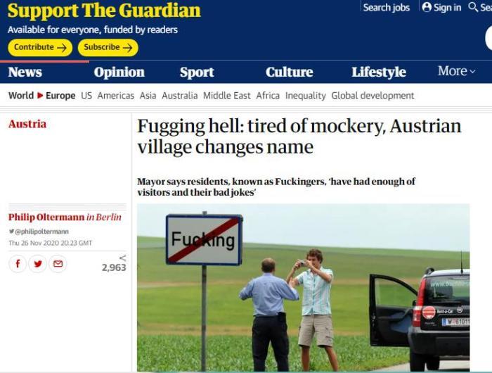 英国《卫报》报道截图。