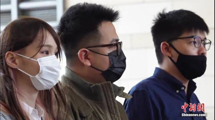 2020年11月23日,周庭及林朗彦、黄之锋出庭受审。记者 张炜 摄