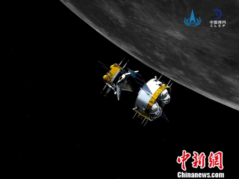轨返组合体与上升器分离后模拟图 国家航天局供图