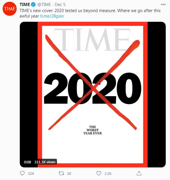 当地时间12月5日,美国《时代》周刊在社交媒体上发布新一期杂志的封面。图片来源:社交媒体截图。