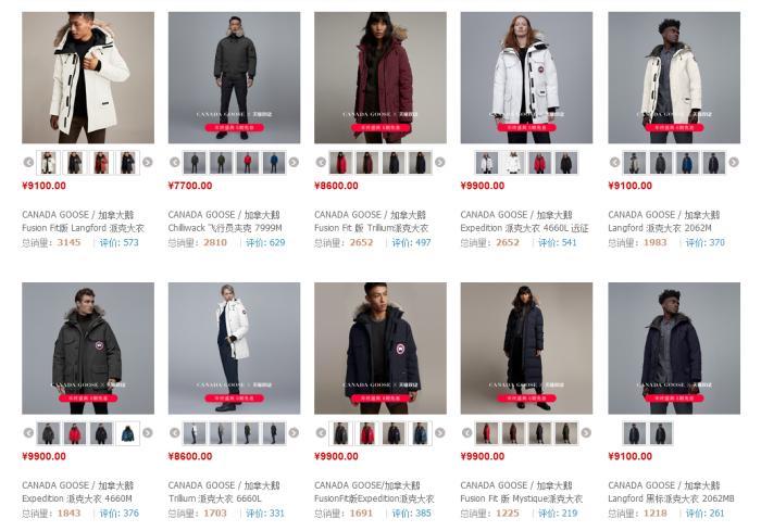 加拿大鹅羽绒服官方旗舰店一些热门款式的售价。 截图