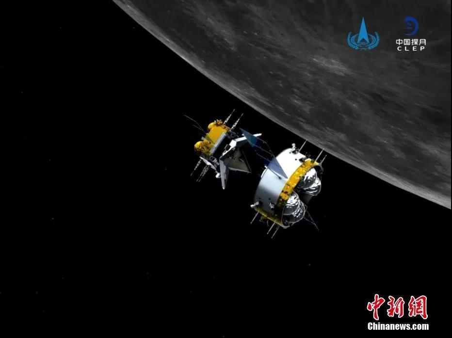 北京时间12月6日12时35分,嫦娥五号轨道器和返回器组合体与上升器成功分离,进入环月等待阶段,准备择机返回地球。图为轨返组合体与上升器分离后模拟图。 国家航天局供图