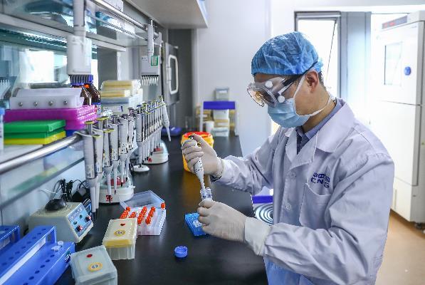 4月11日,工作人员在国药集团中国生物新冠疫苗生产基地质量检定部门对新型冠状病毒灭活疫苗样品进行杂质检测。新华社记者 张玉薇 摄