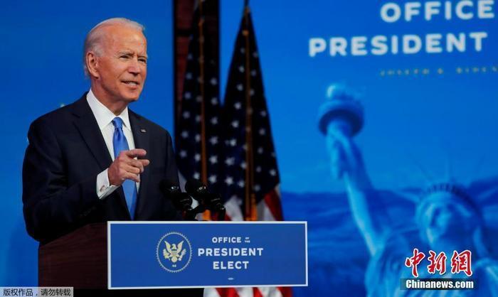 当地时间2020年12月14日,美国选举团正式确认拜登在2020年美国总统大选中击败川普后,美国当选总统拜登在特拉华州威尔明顿皇后剧院的过渡总部发表电视讲话。