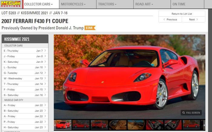 梅克姆拍賣行稱,曾屬美國總統特朗普的法拉利F430即將進行拍賣。圖片來源:梅克姆拍賣行(mecum)網站截圖。