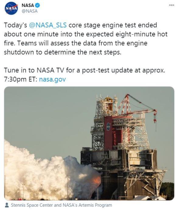 当地时间1月17日,美国宇航局对SLS火箭进行测试。