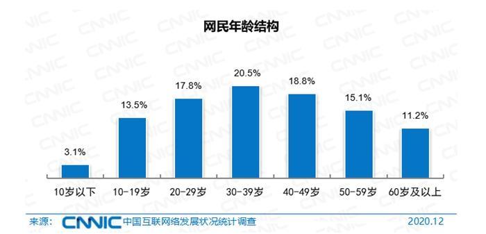 网民年龄结构。图片来源:CNNIC