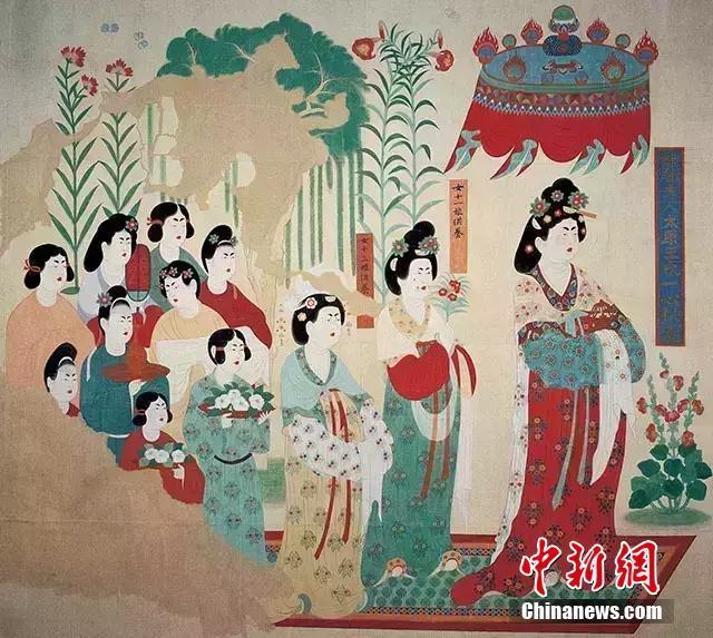 """资料图:此前,敦煌研究院在""""三八妇女节""""之际,以""""大唐女神范儿""""为主题披露了莫高窟中关于女性题材的经典壁画,揭秘唐朝女子""""群像"""",反映女性在唐代具有相当的社会地位。图为莫高窟第130窟《盛唐的女供养人-段文杰临摹》。敦煌研究院供图"""